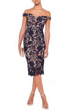 Main Image - Missguided Off the Shoulder Lace Midi Dress