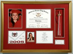 Memorial High School Graduation Shadowbox with photos, invitation, tassle and diploma.