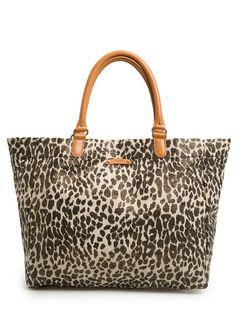 MANGO - Leopard metallic canvas shopper
