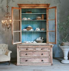 ,Antique cabinet with shells, coral  Love it