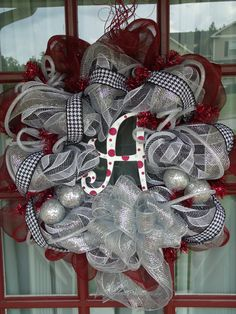 This lady on etsy is UBER talented and can make you a personalized wreath for your front door with ANY sports team! VISIT her etsy site. I'm siked about our BAMA football wreath! Alabama Football Wreath, Alabama Wreaths, Burlap Christmas Stockings, Christmas Wreaths, Christmas Decorations, Christmas Tree Accessories, Crimson Tide, Alabama Crimson, School Wreaths
