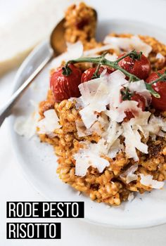 Rode pesto risotto - OhMyFoodness Great Pasta Recipes, Veg Recipes, Vegetarian Recipes, Healthy Recipes, Healthy Food, Good Food, Yummy Food, English Food, Evening Meals