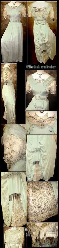 Dress Bow and Beads Silk Edwardian 1912-1914