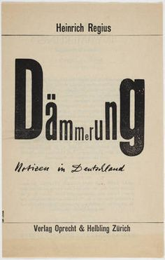 """Dämmerung: Notizen in Deutschland"" Heinrich Regius