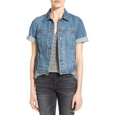 Madewell Short Sleeve Denim Jacket (390 BRL) ❤ liked on Polyvore featuring outerwear, jackets, rocco wash, madewell, short denim jacket, denim jacket, blue jackets and jean jacket