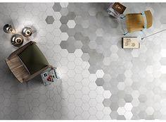Mate Porcelain Tile by Blend the looks of natural stone and cement. Hexagon tiles, chevron tiles and field tiles. Chevron Tile, Hexagon Tiles, Hex Tile, Chevron Floor, Arabesque Tile, Grey Tiles, Marble Mosaic, Floor Patterns, Tile Patterns