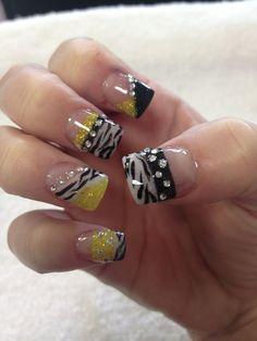 Yellow diamond nails | Yellow acrylic, black, white, zebra, animal print, diamonds, nail art