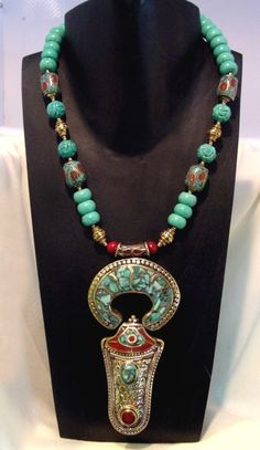 Nepalese Turquoise and Coral 'Ankh' amulet