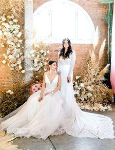 Modern Love Event modern wedding dresses and pampas grass #weddingbackdrops