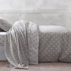 Clarisse Grey Polka Dot Print Pure Cotton Duvet Cover | OTHER | La Redoute