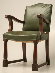 Vintage English Oak and Leather Desk Chair