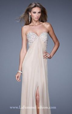 Beaded Strapless Gown by La Femme 20784
