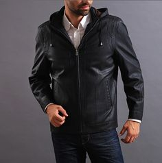 Men's PU Leather Jacket with Hood