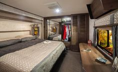 2017 RF348RLS Bedroom  The Roamer line of fifth wheels and travel trailers are designed with the seasoned traveler in mind. You'll find floorplans designed for extended use that maximize space while keeping weight to a minimum.   Learn more: https://www.highlandridgerv.com/products/2017/roamer/