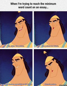 Trying for the minimum word count on an essay