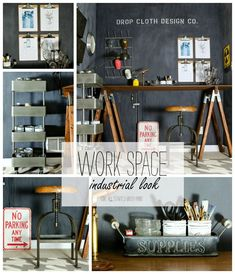 industrial-look-office-space collage. I so want some of these ideas for my craft room makeover.