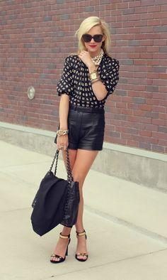 More black, gold and pearls.  Loving leather shorts.    Rosie style inspiration