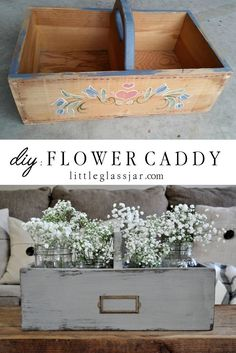 I transformed this goodwill box into a DIY Flower Caddy for just a couple bucks!littleglassja… I transformed this goodwill box into a DIY Flower Caddy for just a couple bucks! Furniture Makeover, Diy Furniture, Thrift Store Furniture, Furniture Refinishing, Refurbished Furniture, Quality Furniture, Repurposed Furniture, Office Furniture, Deco Dyi