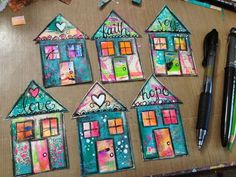 Precut different sizes/shapes of houses. Then mount in a collage. Kids don't forget to put initials somewhere on the front. Mixed Media Collage, Collage Art, Painting Collage, Acrylic Paintings, Happy House, Arte Popular, Mix Media, Art Journal Pages, Art Journaling