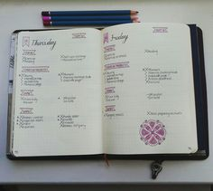 A couple of my daily plans inside my bullet journal #bulletjournal #bujo #planner