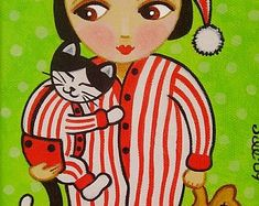 Cat themed folk art, paintings, prints, dolls & pillows by thatsmycat Warm Sweaters, A 17, Original Paintings, Art Paintings, Folk Art, Dolls, Art Prints, Pillows, Canvas