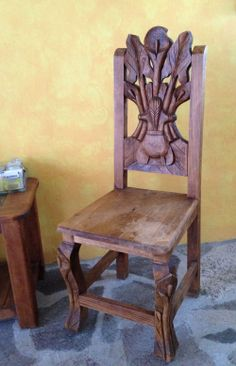 Hand carved chair, reflecting Mexican colonial Baroque style. Mexico Resorts, Mexico Vacation, Mexican Chairs, Bedroom Swing, Ranch Vacations, Baroque Fashion, Swinging Chair, Dining Chairs, Dining Room