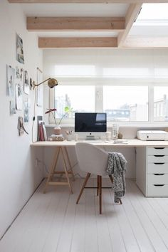 Beautiful white and clean home office