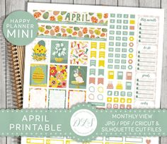 Easter Mini Happy Planner, April Mini Happy Planner, Printable April Monthly View Kit, Instant Digital Download, Mambi PDF, MM105