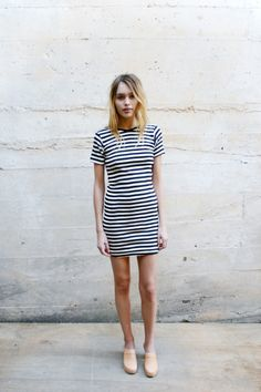 stripped dress and clogs