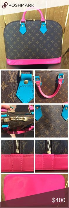Authentic Louis Vuitton Alma-pink/teal Authentic LV Alma, she has been hand painted and sealed. The hardware has tarnish (see picture) inside in fair condition and has some stains (see pictures) zipper works fine. This bag is super cute two toned paint pink and teal! ❤️ this bag is fun! The pink color is custom mixed for another bag so will not be able to be matched- I will send you TU paint for future needs. Bag is not new or in perfect condition- please ask questions and look at pictures…