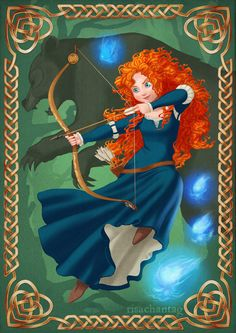 "*MERIDA ~ Brave: Mother and Daughter by R - The title is a reference to the Celtic knots in the corner, which are meant to represent ""mother and child"". Disney Princess Art, Disney Fan Art, Disney Love, Disney Magic, Disney High, Disney Stuff, Disney And Dreamworks, Disney Pixar, Disney Characters"