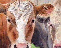 T i t l e : Curious Cows  A r t i s t : Rachel Parker  M e d i u m : Digital File, Print or Giclée D i m e n s i o n s: You choose!  S p e c i f i