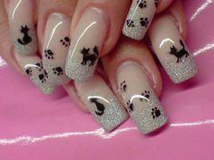 Imagen de nails, cat, and nail art Cat Nail Art, Animal Nail Art, Cat Nails, Colorful Nail Designs, Acrylic Nail Designs, Nail Art Designs, Acrylic Nails, Nails Design, Love Nails