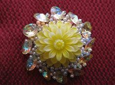 Vintage ALICE CAVINESS Flower Brooch Bicone Vitrail Crystal Rhinestones    #AliceCaviness