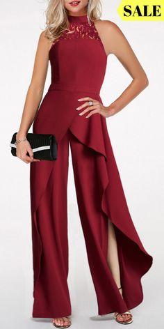 819eb23ff26 Sleeveless Wine Red Side Slit Lace Panel Jumpsuit