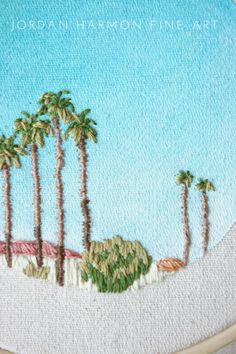 Summer in California with Palm Trees Hand Embroidery Art