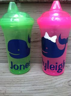 Set of 2 Child's Personalized Sippy Cups