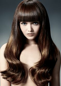 2014 hair colors Natural Brown copper and yellow Hairstyles With Bangs, Cool Hairstyles, Blunt Hair, Blunt Bangs, Hair Addiction, Hair Magazine, Long Layered Hair, Hair Photo, Brunette Hair