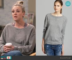 Penny's grey sweatshirt on The Big Bang Theory. Outfit Details: https://wornontv.net/63533/ #TheBigBangTheory