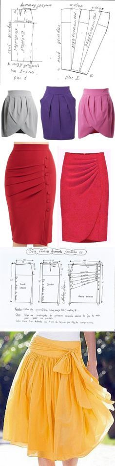 Simple to add a drape to a pencil skirt pattern Diy Clothing, Sewing Clothes, Clothing Patterns, Dress Patterns, Sewing Patterns, Diy Kleidung, Diy Vetement, How To Make Clothes, Fashion Sewing