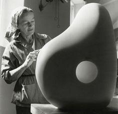 Barabara Hepworth carving in the Palais de Danse, 1961. Photograph by Rosemary Mathews