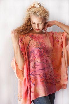 Hand Painted Silk Tunic Kimono Blouse  Sunset in Japan