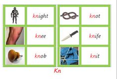 Free: Kn- picture and word cards as part of the montessori green series.