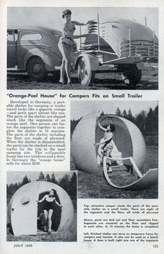 """Orange-Peel  House"" for Campers  Fits  on  Small  Trailer - Popular Mechanics (Jul, 1955)"