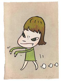 YOSHITOMO NARA, Walk On, 2010, woodcut in colors