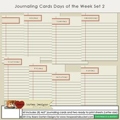 Journaling Cards Days of the Week Set 2 by Baers Garten Designs - Two Peas in a Bucket
