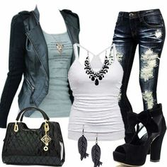 Leather jacke, tank top, necklace and ripped jeans! Maybe swap those shoes out for some cute leather boots or booties