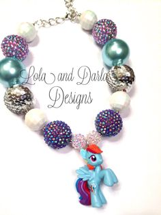 My little pony necklace chunky necklace by LolaandDarlaDesigns, $18.00