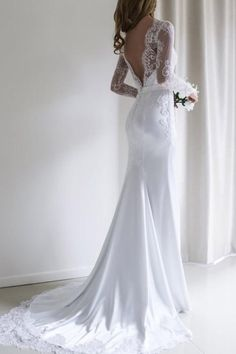 Elegant Lace Long Sleeves Mermaid White Long Wedding Dress with Train WD110