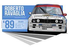 Roberto Ravaglia - 1989 Zolder by EvanDeCiren on DeviantArt Yokohama, Cool Car Pictures, Bmw E30 M3, Classic Wallpaper, Bmw Classic, Tuner Cars, Car Posters, Vintage Race Car, Illustration